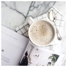 Coffee, cereal magazine, linens and marble. via /cassandramonroe/ https://www.instagram.com/p/BC2z4ibpyD-/