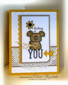 Stampin' Up Kind Koala Hand Stamped Cards, Stamping Up Cards, Get Well Cards, Animal Cards, Card Tags, My Stamp, Kids Cards, Homemade Cards, Making Ideas