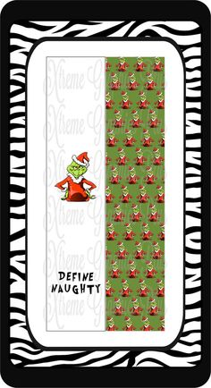 Grinch Define Naughty Sublimation Bow Strips Download