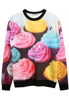 Sweet Ice Cream Long Sleeve Round Neck Pullover by Dawnyecouture