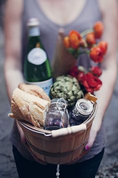 Picnics!   Keep it easy. Pick a theme to keep things simple (like fruit, cheese, wine, sandwiches). It's nice to have bread, water, sparkling water, and finger foods (berries, grapes, and nuts) for snacking. If you have more time, get a bit more creative. Store a variety of olives in vintage Ball jars, make a fun dessert in a jar, and mix up a picnic cocktail.