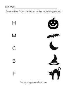 Match the letter with the correct halloween sound! Great for any preschool and kindergarten halloween party. / halloween free worksheets / free halloween worksheets for kids / worksheets / halloween worksheets preschool / halloween worksheets kindergarten / halloween worksheets pdf / sound recognition