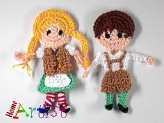 Listing is for the 2 figures as shown, a crochet embellishment, mix of colors…