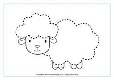 Sheep Tracing Page – kindergarden Sheep Crafts, Horse Crafts, Tracing Worksheets, School Worksheets, Preschool Decor, Preschool Activities, Tracing Pictures, Animal Outline, Eid Crafts