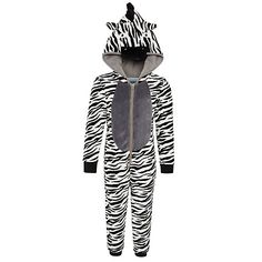 Buy John Lewis Boy Fluffy Zebra Onesie, Black/White Online at johnlewis.com