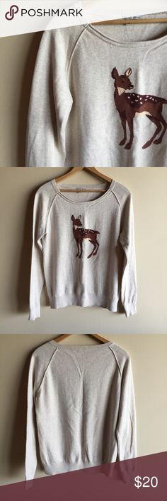 """Halogen cotton deer sweater Adorable long sleeve sweater with a deer! Raglan sleeves, crew neck. From Nordstrom. Great condition!! Measures 20"""" from underarm to underarm and 24"""" long. Halogen Sweaters Crew & Scoop Necks"""