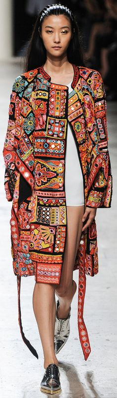 Barbara Bui, embroidered coat with mirrors (shisha).  Spring 2015.