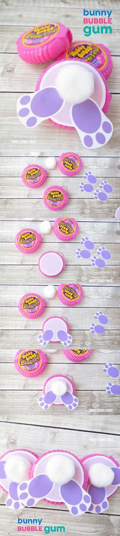 How to make Bunny Bubble Gum using Bubble Tape Gum. A cute DIY Easter gift idea.