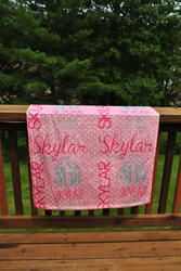 Personalized New Baby Minky Blanket in Light Pink Polkadot