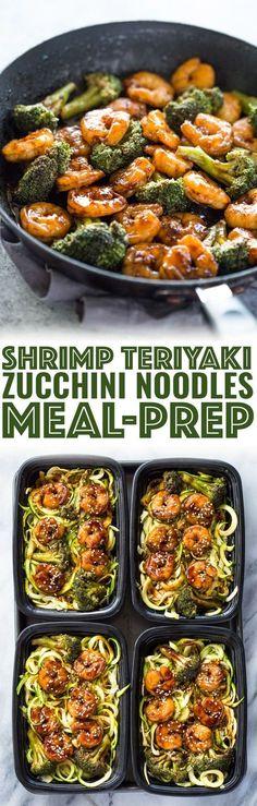Shrimp Teriyaki Zucchini Noodles Meal-Prep - Atıştırmalıklar - Las recetas más prácticas y fáciles Seafood Recipes, Diet Recipes, Cooking Recipes, Healthy Recipes, Freezer Recipes, Freezer Cooking, Healthy Meal Prep, Healthy Eating, Healthy Suppers