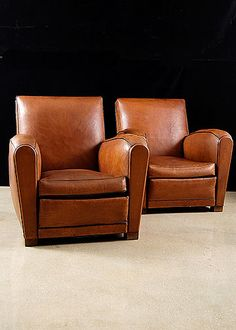 Pair of French Art Deco style Leather Club Chairs 1930s
