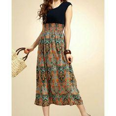 "Dress Dress Scoop neck top Navy color  Apricot color A- Line Skirt Pattern Print Cotton Blend  Size OS (One size) Bust: 33"" Waist: 23-36"" Length: 46""  NWT Top Rag Dresses"