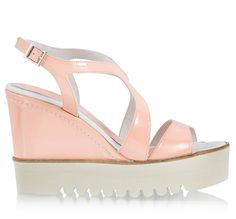 7eedfac36718 Palomitas ADELE Light pink leather high wedge heel   platform sandals
