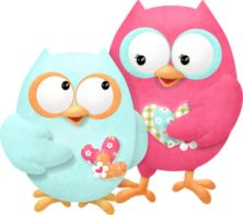 Turquoise and pink owls