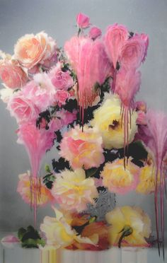 Flora, by Nick Knight for ShowStudio ..using specific floral still life compositions, Knight has manipulated his images after they are printed. By using a highly experimental and fragile printing technique, each piece is manually exposed to heat and water before it dries resulting in a series of unique works that can never again be reproduced. What we are presented with is a hauntingly beautiful series that continually oscillates between photo and painting.