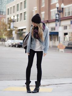 moto boots, black skinnies, denim shirt, white tshirt