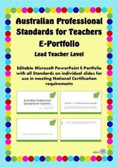 australian professional standards for teachers e portfolio lead teacher level