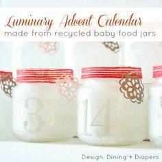 Luminary Advent Calendar Made From Baby Food Jars and Etching Cream #HolidayIdeaExchange  #babyfoodjarcrafts #adventcalendar