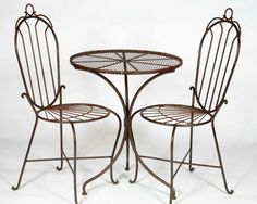 2 Wrought Iron Federal High Back Chairs and Table Set Patio Furniture to Last | eBay