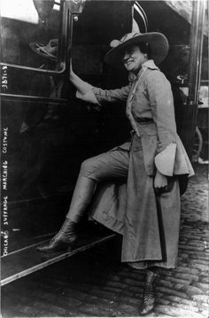 A Suffragist showing off her pants in 1916.