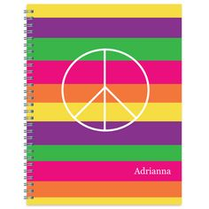 Bright Stripes Peace Spiral Notebook
