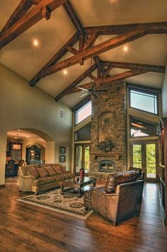 Metal homes, building a house, family room design, rustic family rooms Metal Building Homes, Building A House, Building Ideas, Metal Homes, Cabin Homes, Log Homes, Pole Barn Homes, Family Room Design, Family Rooms