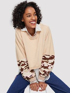 SheIn offers Camo Print Crop Sweatshirt & more to fit your fashionable needs. Sweatshirts Online, Camo Print, Cute Shoes, Pullover, Long Sleeve, Cotton, Toe, Outfits, Shopping