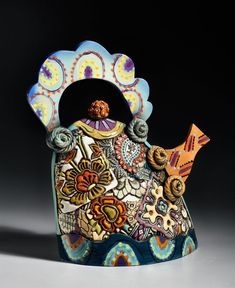 Extra large ceramic teapot - Hand built pottery teapot with pressed designs, hand painted w/ thinned & colored clay. Art pottery teapot by Gail Markiewicz. Pottery Teapots, Teapots And Cups, Ceramic Teapots, Ceramic Clay, Porcelain Ceramics, Pottery Art, Porcelain Dinnerware, Porcelain Tiles, Porcelain Jewelry