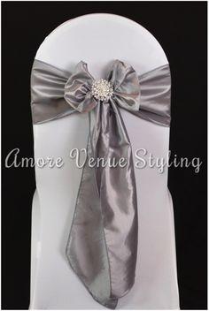 #wedding #sash #taffeta #silver #platinum #crystal #brooch