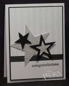 Weihnachten Star Wars Stampin Up handmade congrats card elegant black and white with sparkly silver glimmer paper die cut stars wide stripe embossing folder texture fab look Graduation Cards Handmade, Greeting Cards Handmade, Stampin Up Karten, Stampin Up Cards, Cute Cards, Diy Cards, Star Cards, Congratulations Card, Up Girl