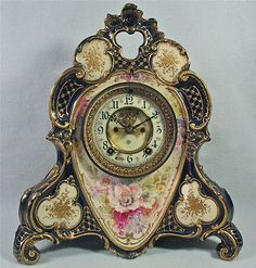 Beautiful Antique Ansonia Royal Bonn Porcelain Mantel Clock