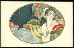 Montedoro Art Deco Postcard Woman with Jewelled Arms | eBay