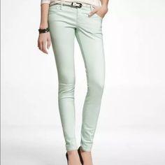 "Express Mint Stella Jean Legging (Low Rise) Mint colored Stella, Regular Fit, Low Rise Jean Legging Slim fit, 11 inch leg opening 97% Cotton, 3% Spandex Machine wash cold 32"" Inseam Express Jeans Skinny"