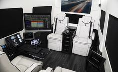 Ultimate Business Man Coach, Custom Interior Mercedes Benz Sprinter Van Conversion & Luxury Mobile Offices.