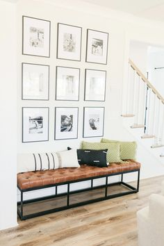 Black and White Photo Gallery Wall with Entryway Bench - Simply Taralynn | Food & Lifestyle Blog