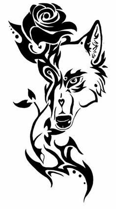 hier ist eine schwarze rose und ein schwarzer wolf idee für einen wolf tattoo