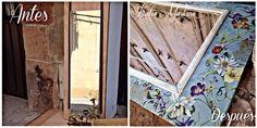 """Decoupage en una puerta de armario reconvertido en espejo . Taller de artesanía y restauración """"A Mano"""" Katia Markina. Ezcaray La Rioja.España"""