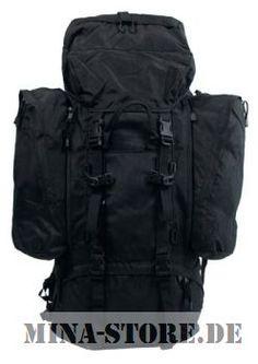 "mina-store.de - Rucksack ""Alpin 110""schwarz 2 abnehmbare Seitentaschen"