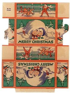 Printable Christmas mini box + collection of Christmas ephemera images to print: