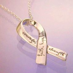 14k Gold Inspirational Affirmation Ribbon Necklace | Faith Hope Love Courage Strength