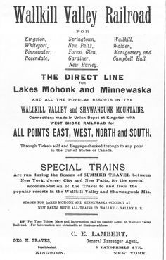 The original notion that the WVRT was the gateway to eco-tourism before it was a term. Can't find a date for this promotional sheet, but the typefaces styling looks like 1920s. Imagine a direct line from Grand Central to Minnewaska and Mohonk.