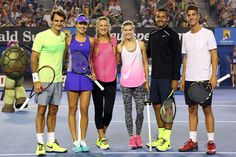 Roger Federer, Ana Ivanovic,Victoria Azarenka, Eugenie Bouchard, Nick Kyrgios and Thanasis Kokkinakis pose during Kids Tennis Day on centre court at Rod Laver Arena