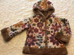 Baby Girl Size 24 Month Faux Fur Dress Coat Winter Jacket Hood Brown Floral  | eBay