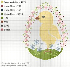 free cross stitch easter chick