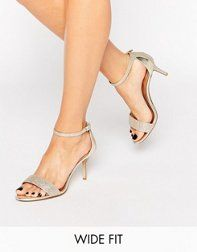 df8bd255f22 Shop Dune Wide Fit Mariee Gold Barely There Heeled Sandals at ASOS.