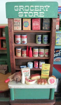 """I was just thinking how much I LOVED playing grocery store as a kid. Cardboard boxes stacked on top of each other did the trick for our """"grocery shelves..."""