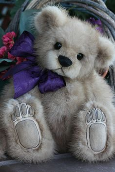 "12"" Mink Teddy Bear Recycled fur always 695.00 www.kimbearlys.com"