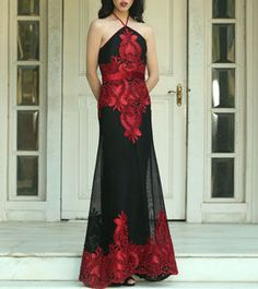Red & Black Net Gown With Ribbon Work