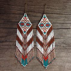 Narasinhi...Fractal seed bead earrings, sacred geometry, handmade, OOAK, tribal, gypsy, boho, native style, southwestern by DancingWillowDesign on Etsy https://www.etsy.com/listing/259566698/narasinhifractal-seed-bead-earrings
