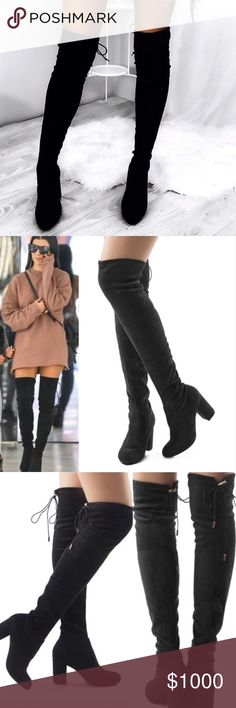 """{20% OFF} Black Over The Knee Vegan Suede Boots Black Over The Knee Vegan Suede Boots. Features a chunky 3"""" heel, Rounded Toe, and a Drawstring Collar Tie at the back for a custom fit. The material is soft which makes it flexible for wide or thin calfs. No Trade. Price is Firm unless Bundled. 2+ Items 10% Off 3+ Items 20% Off. Please Note Ships Next Week GlamVault Shoes Over the Knee Boots"""